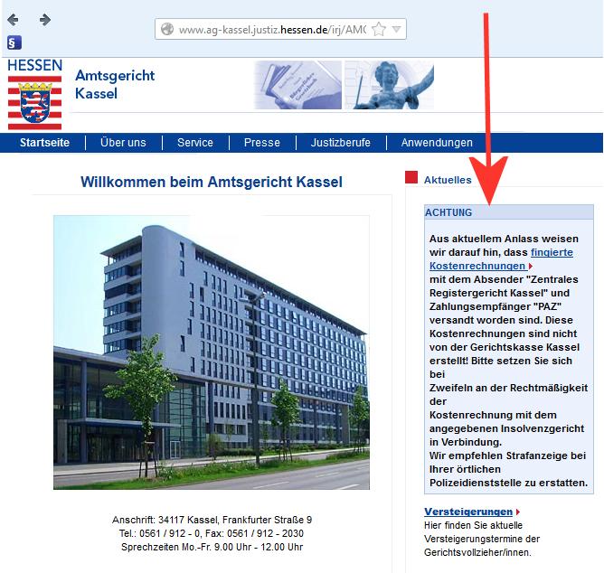 Aktuelle Warnung des AG Kassel vor Betrugsmasche (Foto vom 28.08.13)